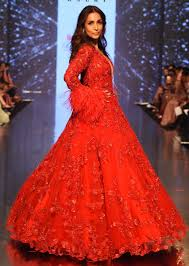 Red Net Dress Design Showstopper Malaika Arora In Kalkis Ruby Red Embroidered Net Gown With Feather Sleeves