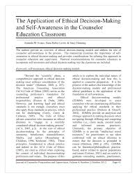 Ethical Decision Making Models Pdf The Application Of Ethical Decision Making And Self Awareness