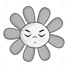 グレー スケールかわいい怒っている花のイラストが目を閉じてください
