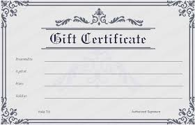 Gift Certificate Template Printable Blank Gift Certificate Template Business
