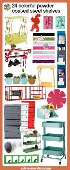 24 colorful powder coated steel shelves