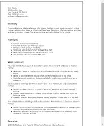 Employee Relations Manager Sample Resume 1 Templates