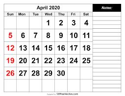 Free Printable April Calendar 2020 April 2020 Printable Calendar