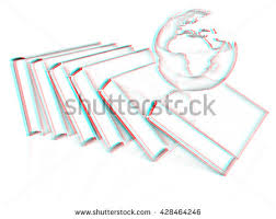 real books and earth pencil drawing 3d ilration anaglyph view with red