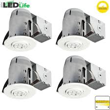 white ic rated dimmable recessed lighting kit led bulbs included