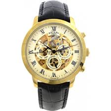 rotary gs02375 01 mens watch watches2u rotary gs02375 01 mens timepieces gold plated skeleton automatic watch