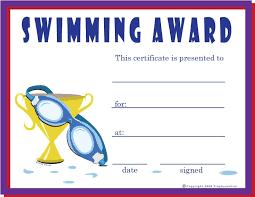Swimming Certificate Kids Swimming Swim Team Certificate