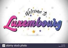 Welcome Purple Luxembourg Welcome To Word Text With Purple Pink Handwritten