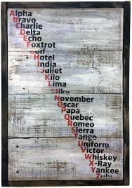 A perfect gift for the military and aviation folks in your life. Nato Phonetic Alphabet On Rustic Boards Echo And Ben Artisan Decor
