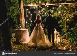 Wedding Tree Lights Night Wedding Ceremony Candles Lanterns Lamps Tree Bride