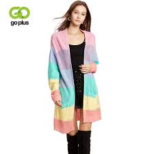 2019 <b>GOPLUS</b> 2019 Rainbow <b>Stripes Knitted Long</b> Cardigans ...