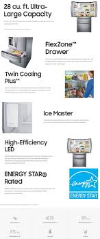Refrigerator Options Samsung 2815 Cu Ft 4 Door French Door Refrigerator In Stainless