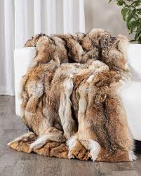 custom full pelt coyote fur blanket fur throw