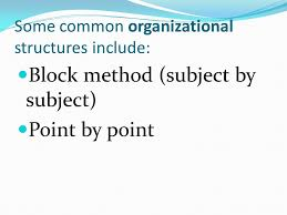 organization and structure writing a compare contrast essay as  3 some common organizational structures include block method subject by subject point by point