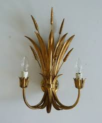 pair of gold large wheat leaf toleware wall lights the vintage chandelier company the vintage chandelier company
