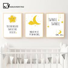 kawaii moon star motivational nursery nordic posters cartoon wall art canvas prints painting picture children bedroom on childrens canvas wall art with kawaii moon star motivational nursery nordic posters cartoon wall