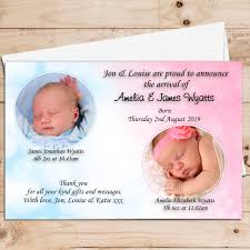 Baby Announcement Cards 10 Personalised Twins Baby Girl Boy Birth Announcement Thank You Photo Cards N32
