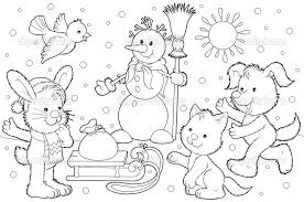 winter animals coloring pages animals in winter coloring page colouring book