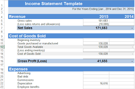 Income Statement Format Excel Income Statement Template Excel Xls Exceltemple