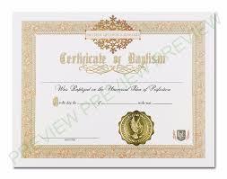 Baptism Certificate Baptism Certificate Get Ordained