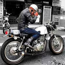 helmet goggles gloves leathers yamaha cafe racer