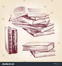 books set hand drawn vector lration realistic sketch
