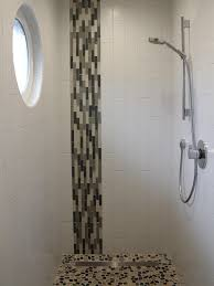 Contemporary Shower The Vertical Mosaic Glass Tile Combined With The Vertical White
