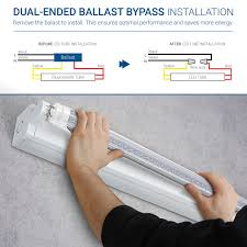 Fluorescent Light Fixture Ballast T8 Led Light Tube 4ft Dual End Powered 24 Pack Clear