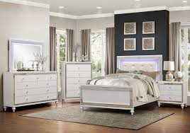 Alonza 6-Pc White Wood Queen Bedroom Set w/LED Lighting by Homelegance