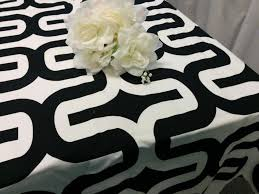 view in gallery black and white geometric tablecloth from fantasy vintage bridal