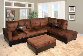 low profile sofa. Delighful Sofa Low Profile Chocolate Microfiber U0026 Faux Leather Sofa Sectional W Right Arm  Chaise Ottoman Intended C