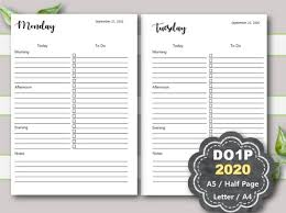 Daily Planner Template 2020 Daily Planner Printable 2020 Daily Planner Inserts Daily Planner Pages Do1p A5 Planner Inserts Half Page Letter A4 Filofax Kikki K