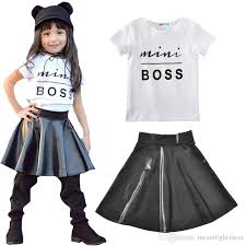 toddler kids girl clothes set 2017 new summer mini boss t shirt tops leather skirt 2pcs toddler clothes outfit child baby clothing suit