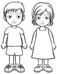 Girl And Boy Outline Printable Little Boy Template Art For Kids