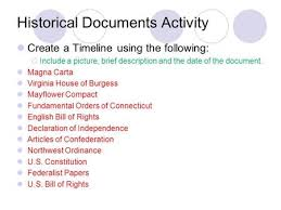 historical documents review magna carta virginia house of burgess historical documents activity create a timeline using the following iuml130iexcl include a picture brief