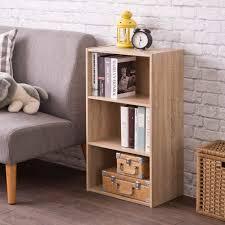 Bookcase Lighting Options Frama Heavy Duty Diy 3 Tier Bookcase Premium Laminated Wood Board Storage Shelf Sonoma Oak