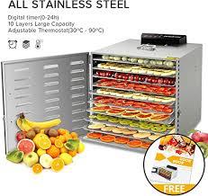 8 Tray <b>Food</b> Fruit Vegetable <b>Dryer Dehydrator with</b> Adjustable Timer ...