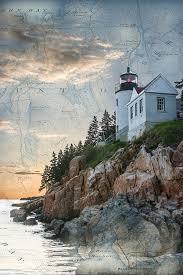 Chart House Maine Bass Harbor Lighthouse On Maine Nautical Chart