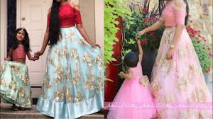 Designer Dresses For Mother And Daughter Beautiful Mother And Daughter Matching Crop Top Lehenge Design Ideas For Indian Wear