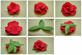 Rose Flower With Paper Bits Of Paper Rolled Rose And Easy To Assemble Rose 3d Paper Flowers