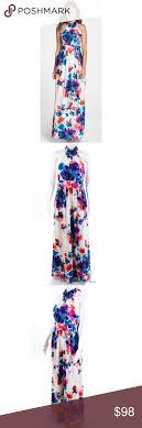 Eliza J Floral Halter Tie Neck Maxi Dress 6 Nwt Lovely