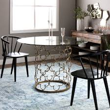 Glass Dining Table Quatrefoil Brush Gold Metal Round Small Kitchen