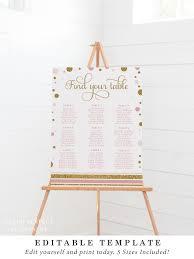 Instant Download Seating Chart Baptism Christening Seating Plan Gold Glitter 5 Sizes Diy Printable Bapg013 Bapb013
