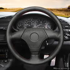 mewant hand stitched black artificial leather steering wheel cover wrap for bmw e36 e46 e39 without multi function on thin steering wheel cover thin