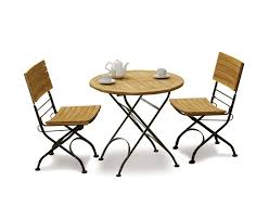teak folding bistro round 0 8m table 2 side chairs