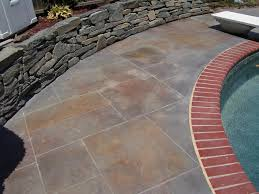 patio flooring choices. amusing design of the grey stamped concrete patio ideas with rocks and red bricks flooring choices r
