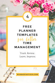 Free Scheduling Templates Free Planner Templates For Better Time Management Wundertastisch