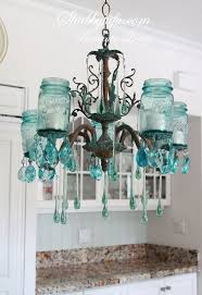 turquoise chandelier lighting. How To Make An Elegant Farmhouse Mason Jar Chandelier, Crafts, To, Lighting Turquoise Chandelier E