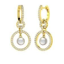 white pearl and diamond chandelier earring in 10k yellow gold