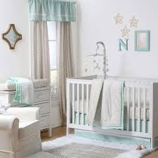 gold dot and chevron zig zag 4 piece baby crib bedding set with mint green